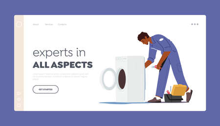 Plumber, Husband for an Hour Repair Service Landing Page Template. Character in Uniform Fixing Broken Washing Machine