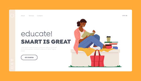 Education, Gaining Knowledge Landing Page Template. Woman Sitting on Parapet with Fashioned Bag beneath Read Book