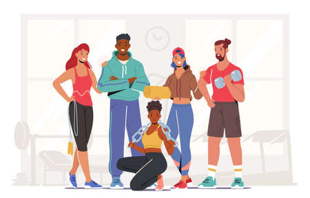 Happy Male and Female Characters Wearing Sports Clothes and Sneakers Stand Together in Gym with Sport Equipment