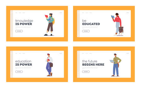 Students Studying Landing Page Template Set. Men, Women Read Textbooks, Prepare to Exam. Characters with Various Bags