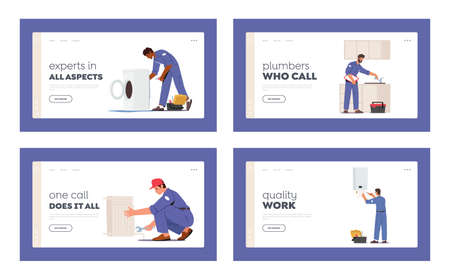 Plumbing Service Landing Page Template Set. Plumber Characters Repair Broken Technics Washing Machine, Sink, Heater