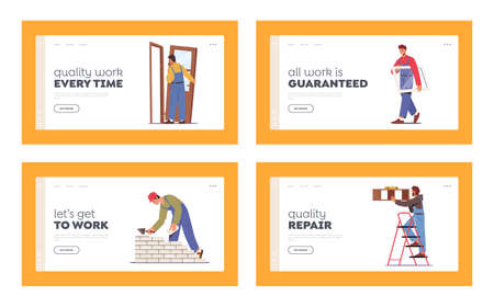 Home Repair Landing Page Template Set. People Install Door, Window, Tiling Wall, Hanging Shelf and Laying Brick