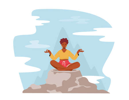 Tranquil Woman Meditating in Lotus Pose Sitting on Mountain Peak, Outdoors Yoga, Healthy Lifestyle, Relaxation, Balance 일러스트