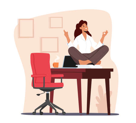 Tranquil Female Character Doing Yoga in Office during Coffee Break. Calm Woman Worker Meditating at Workplace