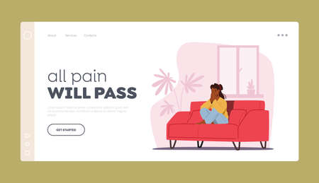 Depression, Headache Migraine, Abuse or Frustration Landing Page Template. Young Depressed Upset Female Character 일러스트