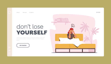 Depression and Migraine Unhappy Emotion Landing Page Template. Depressed Female Character Sitting in Bed with Headache