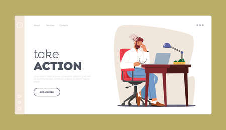 Burnout, Depression, Headache Migraine Landing Page Template. . Depressed Upset Business Man Sitting at Workplace