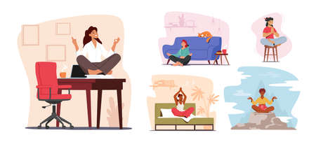 Set of Tranquil Woman Meditating at Home and Office. Healthy Lifestyle, Relaxation Emotional Balance Concept