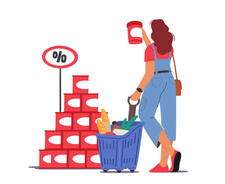 Woman Customer with Shopping Cart in Grocery or Supermarket Buying Food. Female Character Visiting Store for Products