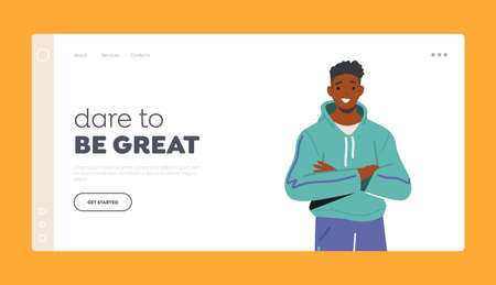 Dare to be Great Landing Page Template. Young Black Man in Sportswear. Male Character Posing with Crossed Arms 일러스트