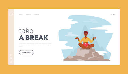 Take a Break Landing Page Template. Tranquil Woman Meditating in Lotus Pose Sitting on Mountain Peak, Outdoors Yoga