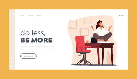 Tranquil Female Character Doing Yoga in Office Landing Page Template. Calm Woman Worker Meditating at Workplace