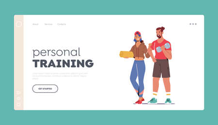 Personal Training Landing Page Template. Happy Couple in Sports Wear Visit Gym. Woman Holding Mat Touch Male Shoulder