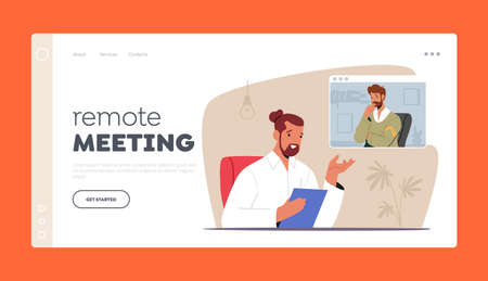 Remote Online Meeting Landing Page Template. Video Conference. Business Man Character Speak with Colleague