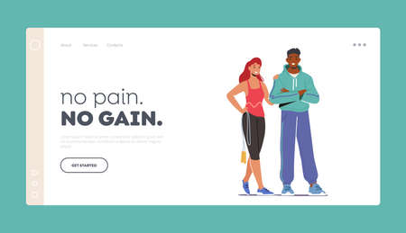 Athlete People Visiting Gym Landing Page Template. Couple Characters Wearing Sports Clothes and Sneakers Stand Together