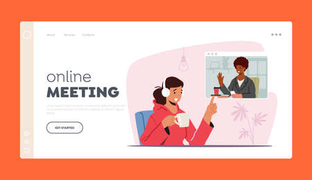 Online Meeting Landing Page Template. Workers Webcam Video Conference on Pc. Female Character Business Employee