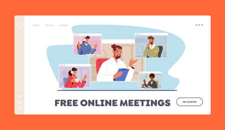 Free Online Meetings Landing Page Template. Workers Webcam Group Conference. Business Characters, Speak on Video Call