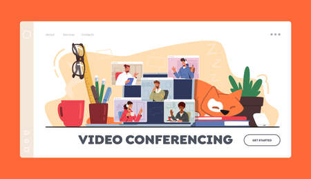 Video Conference, Webcam Group Teleconference Landing Page Template. Business Characters, Office Employees Chat