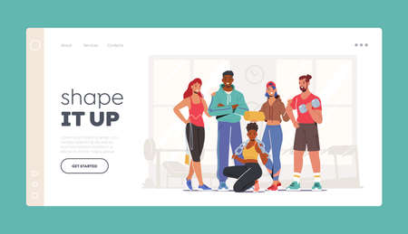 Athlete People Workout Landing Page Template. Happy Characters in Sports Clothes and Sneakers Stand Together in Gym