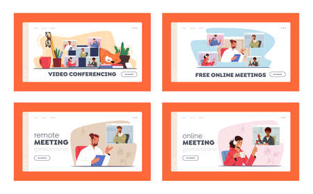 Video Conference, Webcam Group Teleconference Landing Page Template Set. Business Characters, Office Employees Speaking