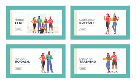 Athlete People Workout in Gym Landing Page Template Set. Happy Characters in Sports Clothes and Sneakers Stand Together