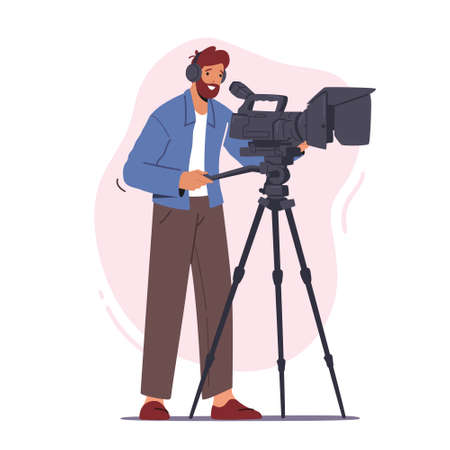 Professional Videographer Male Character Record Video or Movie on Camera Isolated on White Background, Mass Media