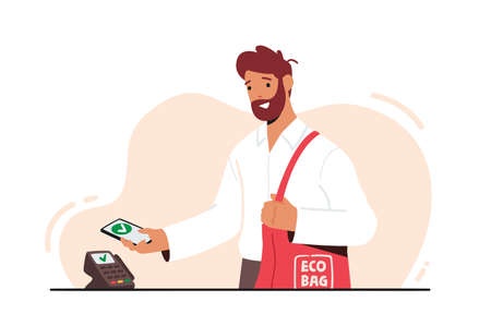 Man Holding Smartphone with App for Online Payment and Eco Bag with Purchases on Cashier Desk. Buyer Use Pos Terminal