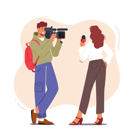 Videographer Cameraman Character with Camera Recording Female Journalist or Tv Reporter Holding Microphone, Mass Media Иллюстрация