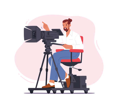 Professional Videographer Male Character Sitting on Special Platform with Camera Record Video, Mass Media Broadcast