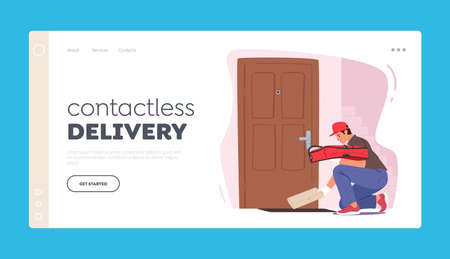 Contactless Safe Delivery during  Pandemic Landing Page Template. Courier Character Bring Pizza at Customer
