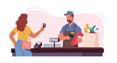 Noncontact Payment Concept. Female Customer Character in Supermarket Prepare Credit Card for Cashless Online Paying
