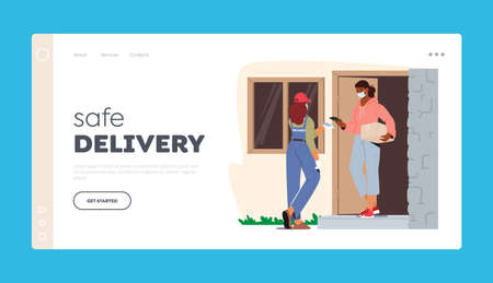 Safe Delivery at   Pandemic Landing Page Template. Courier Female Character Bringing Parcel to Customer Door