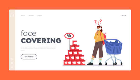 Face Covering Landing Page Template. Young Woman Customer Character Wearing Mask Visit Grocery or Supermarket Иллюстрация