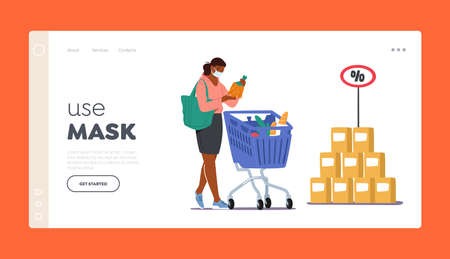 Use Mask Landing Page Template. Customer Character in Face Mask Visit Grocery or Supermarket Choose Goods Put in Trolley