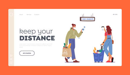Keep Distance Landing Page Template. People Face Masks Purchase in Store Buy Products in Shop. Characters Buying Food