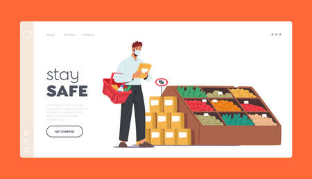Stay Safe Landing Page Template. Man Choose Products for Purchase. Customer Character Wear Face Mask Visit Grocery