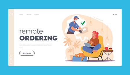 Remote Ordering Landing Page Template. Woman Sitting at Home with Laptop Order Parcel or Food Delivery using Internet Иллюстрация