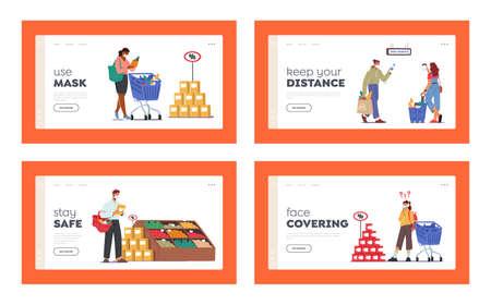 People Visiting Supermarket for Buy Grocery during  Pandemic Landing Page Template Set. Men or Women Wear Masks