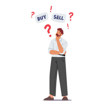 Doubtful Businessman Character Thinking Buy or Sell Currency and Bonds during Bear Stock Market Crisis Drop Sales