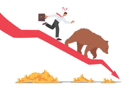 Business Investor on Drop Arrow with Bear Going Down the Chart. Stock Market at Crisis