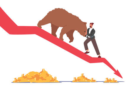 Stock Market at Crisis. Business Investor Trying to Stop Bear Going Down with Drop Arrow Chart.