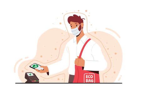 NFC Technology Concept. Man in Facial Mask Use Smartphone for Wireless Paying on Cashier Desk. Buyer Use Pos Terminal Иллюстрация