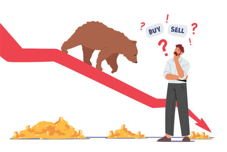 Trader Searching Wise Financial Solution for Money Concept. Doubtful Businessman Character Thinking Buy or Sell Money