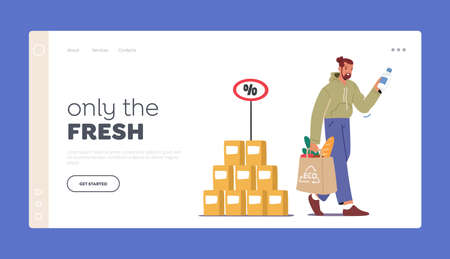 Man Purchase Food Products in Market or Store Landing Page Template. Customer Male Character with Eco Bag in Hands