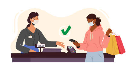 Woman Character in Facial Mask Use Pos Terminal for Cashless Paying for Purchase in Supermarket, Contactless Payment Иллюстрация