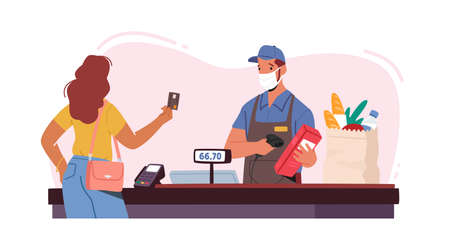 Noncontact Payment Concept. Salesman Character in Facial Mask Use Pos Terminal. Female Customer in Supermarket Buy Food
