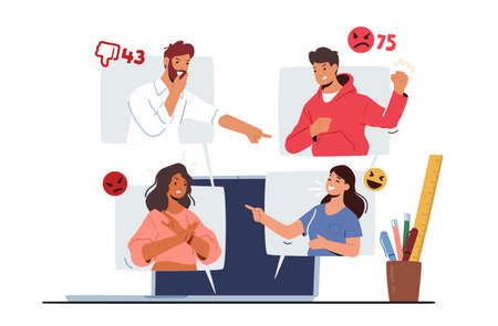 Cyberbullying Network Abuse and Harassment Concept. Cyber Bullying Problem. Haters Character on Computer Screen Иллюстрация