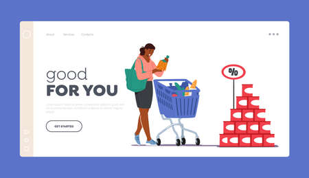 oman Visiting Store for Products Purchase Landing Page Template. Customer Character in Grocery or Supermarket with Goods