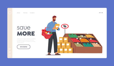 Man Choose Products for Purchase in Market Store Landing Page Template. Customer Male Character Visiting Grocery