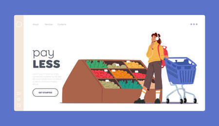 Customer Buying Food in Supermarket Landing Page Template. Girl Character Visiting Grocery Store Making Purchase